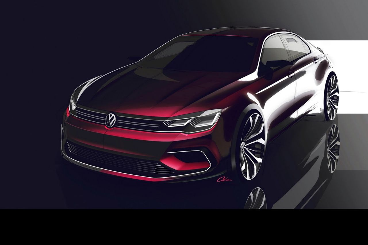 Volkswagen NMC Concept MQB New Midsize Coupe rood 2014 03