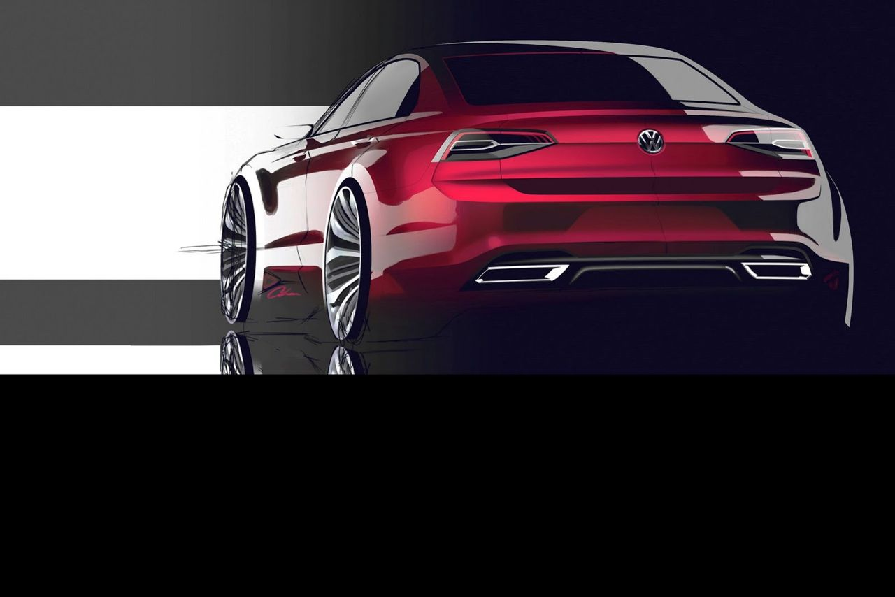 Volkswagen NMC Concept MQB New Midsize Coupe rood 2014 04